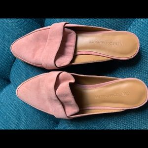 Pale pink suede Rebecca Minkoff backless loafers